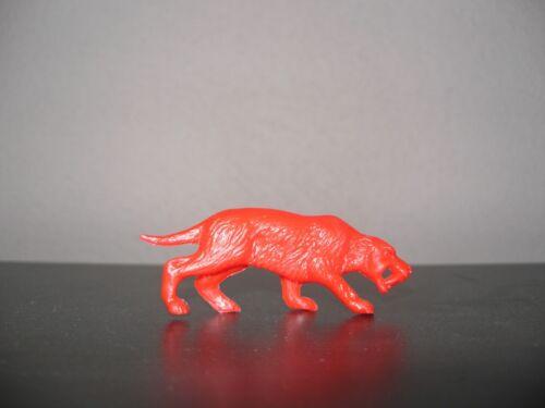 Red Smilodon 1970s Processed Plastic Dinosaur 1990s