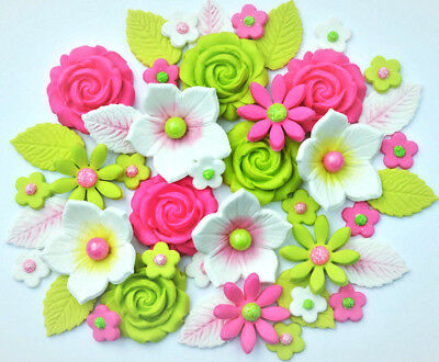 Peachy Edible Pink Green Birthday Cake Flowers Edible Hot Pink Lime Funny Birthday Cards Online Overcheapnameinfo