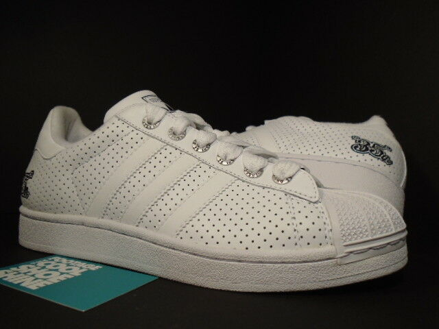 05 ADIDAS SUPERSTAR 35TH ANNIVERSARY PERFORATED WHITE BLACK SILVER 116425 8 6.5