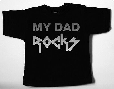 MY DAD ROCKS Black Baby-T-Shirt