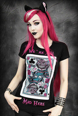 Restyle T-Shirt Gothic Alice Tee Katze Mad Tea Party Cheshire Cat Steampunk RS23