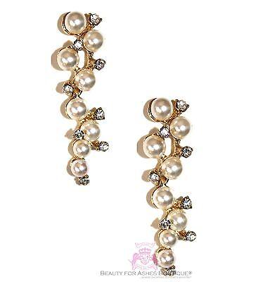 Elegant Crystal Cultured//Faux Pearl Sterling Silver Bridal//Prom Drop Earrings