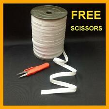 """Braided Elastic White 3/8"""" inch 144 YARDS ROLL Spool with FREE SCISSORS"""