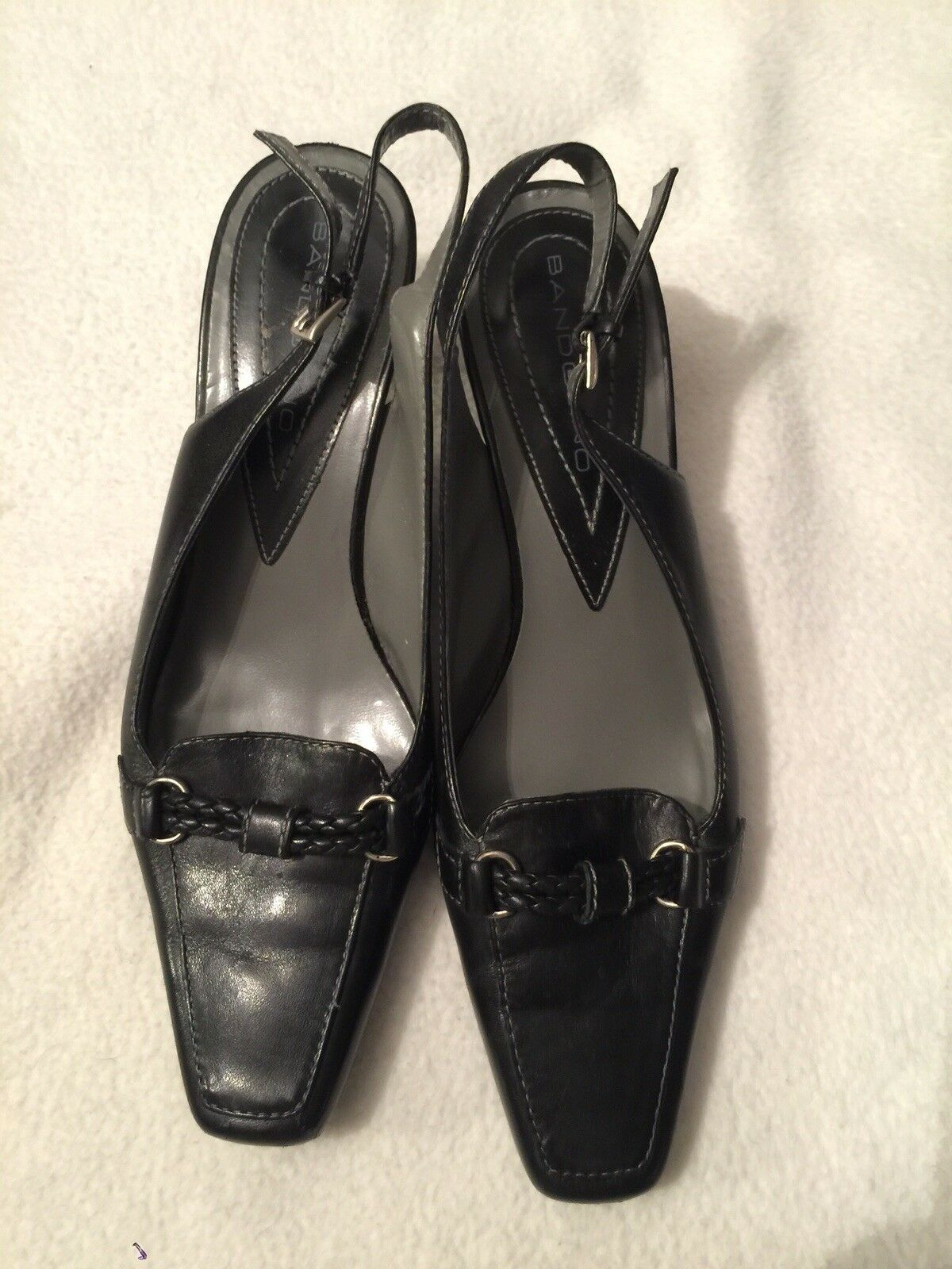 Ladies Bandolino Black Size Sling Back Pumps Heels Size Black 7M Used Condition 01ed27