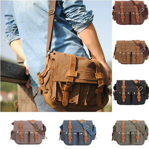 Image is loading Men-Women-Vintage-Army-Canvas-Duffle-Messenger-Travel- 1fd28c07f8
