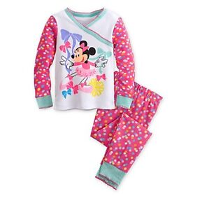 Disney-Store-Authentic-Minnie-Mouse-Clubhouse-Pajamas-Girls-Size-2-3-4-PJ-039-s-NEW