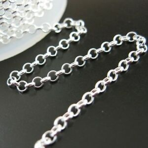 Sterling Silver Rolo Chain 2mm Bulk Lots By The Foot 925