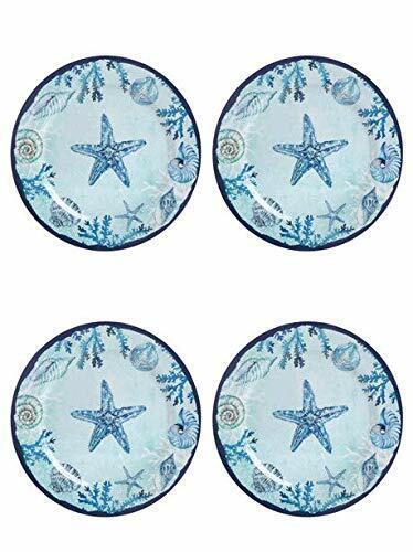 "4 Melamine Coastal Plates Dinner Size 10/"" Round Blue Shells Starfish Sea Life"