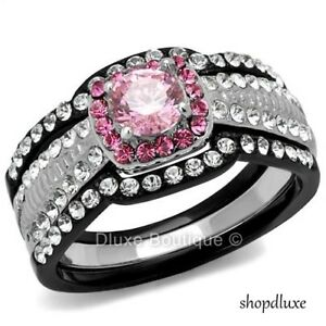 2-25-CT-HALO-ROUND-CUT-PINK-CZ-BLACK-STAINLESS-STEEL-WEDDING-RING-SET-SIZE-5-10