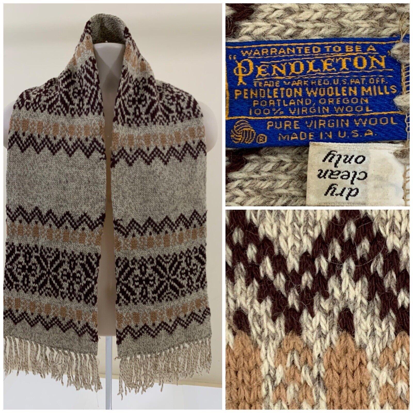 Vintage Pendleton Unisex Virgin Wool Heavy Duty Scarf Multicolor Made in USA