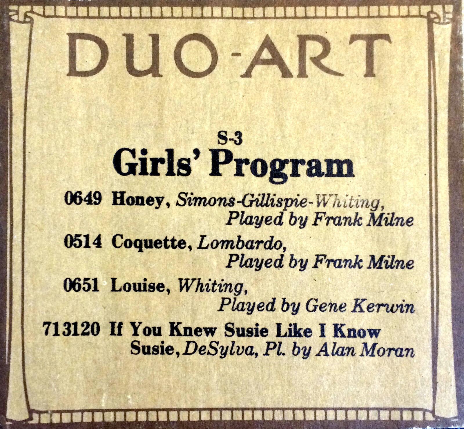 DUO-ART (ReCut) flickor' PROGRAM Milne, Kerwin, Moran S3 Program Player Piano Roll