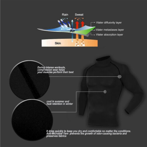 Mens Compression T Shirt Skins Quick-dry Base Layer Mock Long Sleeve Running Top