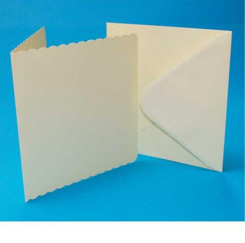 "Craft UK 5/"" x 5/"" Scalloped Card Blanks /& Envelopes Ivory Pack of  50 Line 1011"