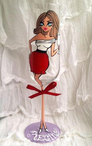 Personalised Hand Painted Wine Glass Birthday REGINA DOLL