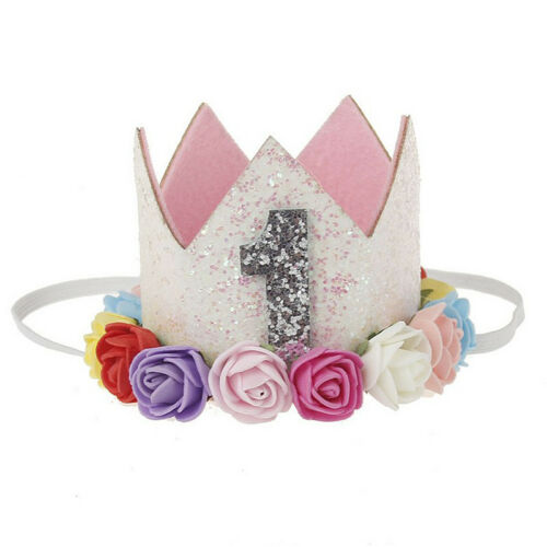 Baby Girl 1st Birthday Party Hat Flower Princess Crown Decor Hair Acces HKS