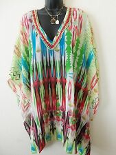 Embellished Kaftan Top Tunic sheer  Blouse with necklace  Free Size Freeship