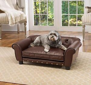Image Is Loading Fancy Dog Bed Raised Medium Tufted Pet Sofa
