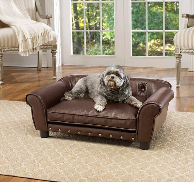 Tremendous Fancy Dog Bed Raised Medium Tufted Pet Sofa Couch Faux Leather Furniture Cushion Machost Co Dining Chair Design Ideas Machostcouk