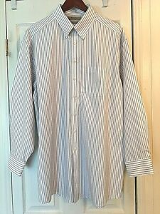 New-ROUNDTREE-amp-YORKE-Gold-Label-Non-Iron-Pinpoint-Blue-Striped-Mens-Shirt-17-34
