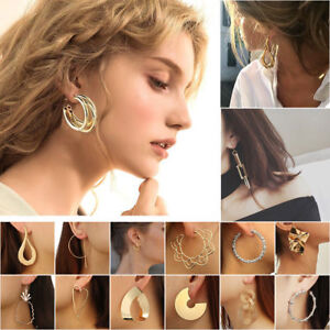 New-Fashion-Round-Circle-Geometry-Earring-Ear-Stud-Earrings-Women-Xmas-Jewelry
