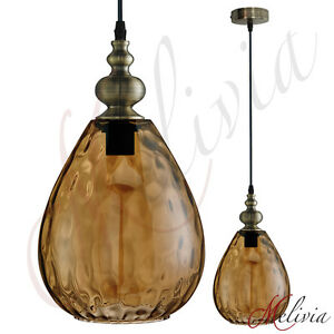 retro-Luminaire-suspendu-verre-20cm-Vintage-Ambre-Marron-Lampe-1x60W