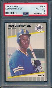 1989-Fleer-Baseball-Ken-Griffey-Jr-R-548-LOT-OF-2-CARDS-PSA-8-MARINERS-HOF