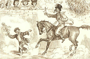 1866 Pen and Ink Drawing - Returning from the Derby