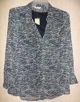 Womens Christopher & Banks Zebra Stripe Blouse & Tank Top Set Size L