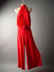 e62174e94bf Red High Neck Blouson Evening Wide Leg Dress Pants 136 mv Jumpsuit ...