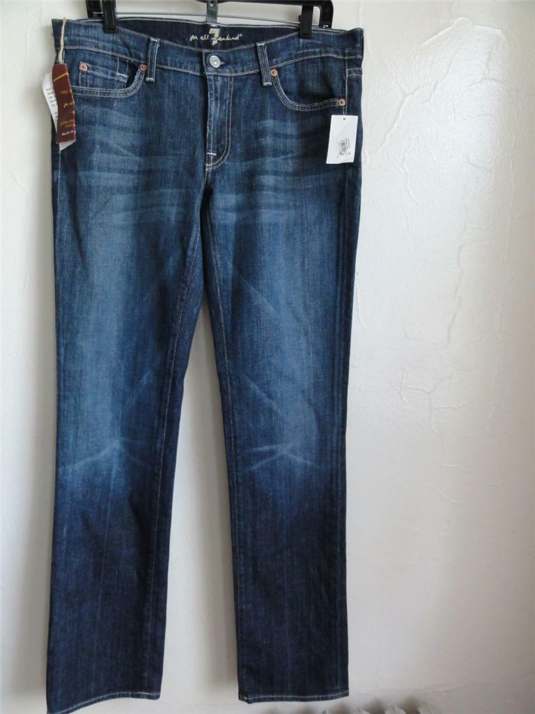 SEVEN FOR ALL MANKIND STRAIGHT JEANS, bluee (NYD), Size 32, MSRP