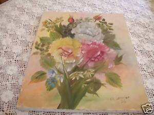 Shabby-roses-pink-Oil-Painting-Original-Signed-ooak-Vintage-Country-Cottage
