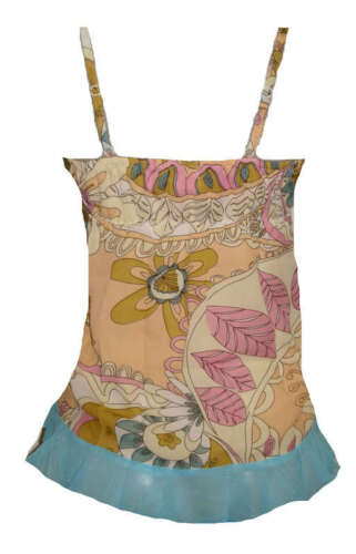 New Women/'s Juniors Sequined Summer Top Floral Resort Tank with Ruffle Trim