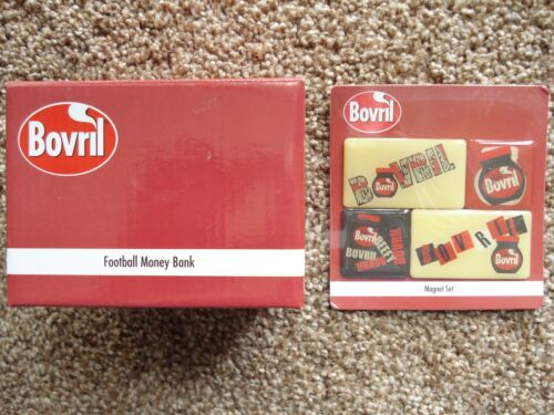 ***NEW*** BOVRIL MAGNETS 4pack FOOTBALL CERAMIC MONEY BANK