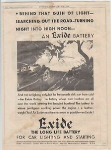exide battery 1930 motor car advertising page ref r10135