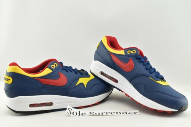 Nike Air Max 1 Premium Snow Beach Navy Vivid Sulfur White Gym Red 875844 403 US 8