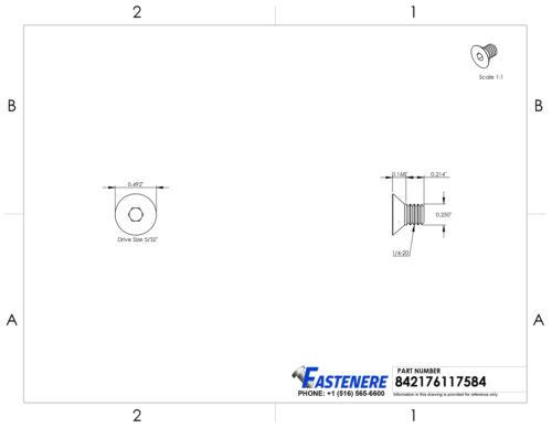 "1//4-20 x 3//8/"" Flat Head Socket Cap Screws Allen Drive Stainless Steel Qty 50"