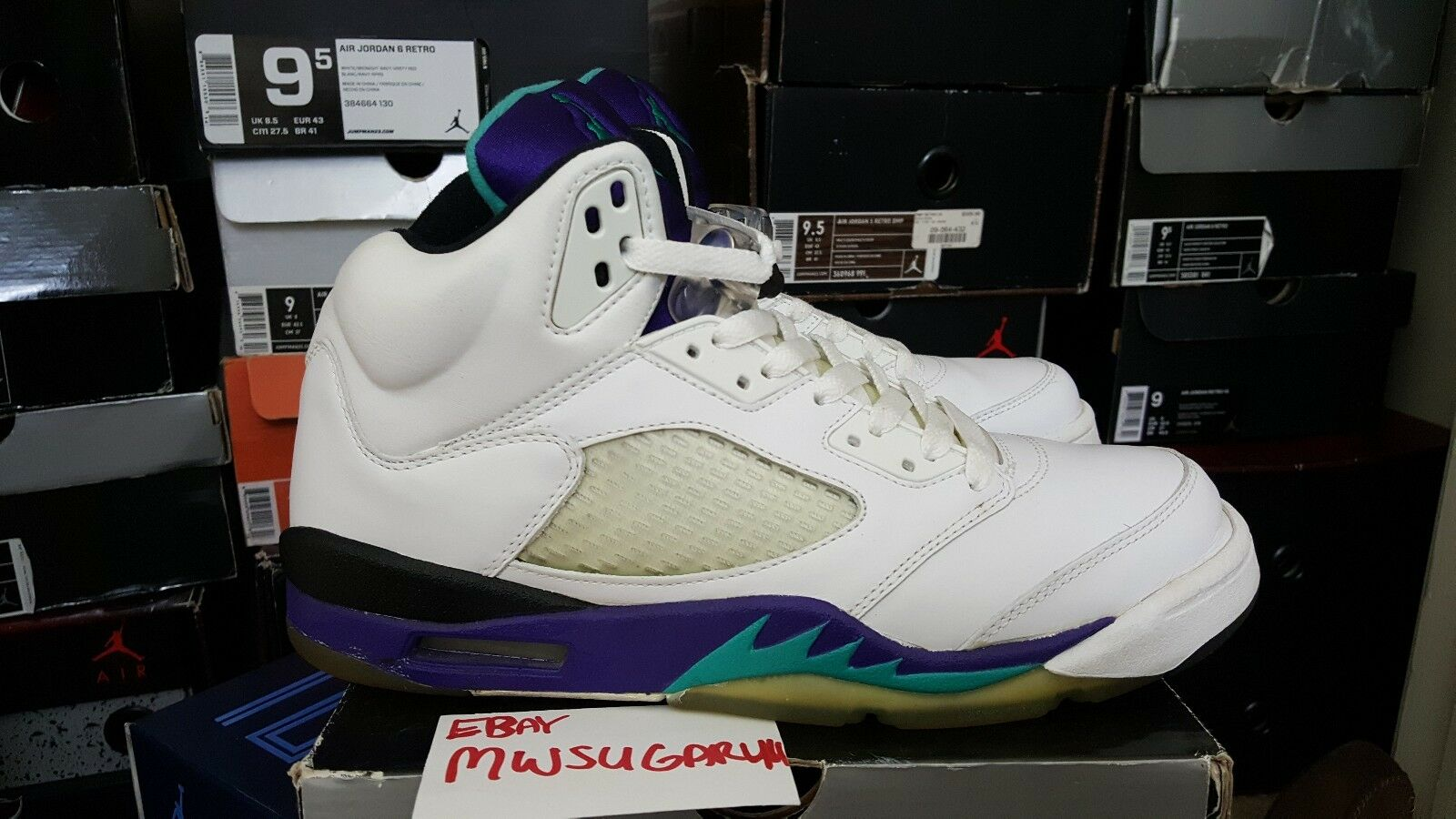 2006 Nike Air Jordan Retro 5 LS Grape Bel Air DB Bin 23 Toro Tokyo Supreme Laser
