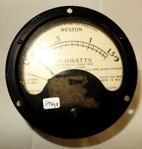 Weston-Dc-Rotondo-Pannello-Misuratore-Voltaggio-0-1-5-Kilowatt-150-Volt