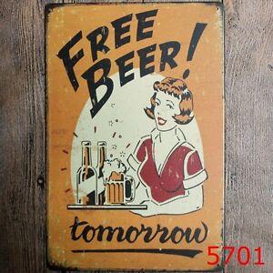 Metal-Tin-Sign-free-beer-tomorrow-Bar-Pub-Vintage-Retro-Poster-Cafe-ART