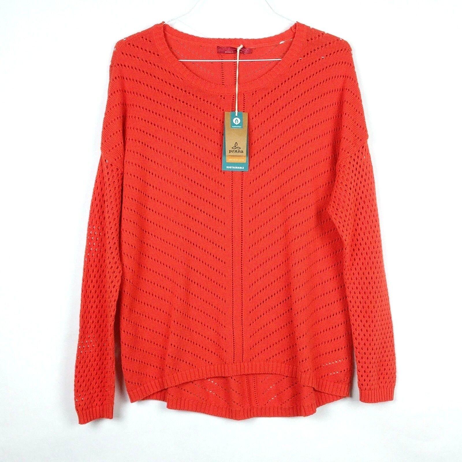 NWT Prana Womens Large Sweater Parker orange Koi Knit Organic Cotton Long Sleeve