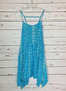 Entro Boutique Women's Sz S Small Blue White Sleeveless Spring Summer Tunic Top