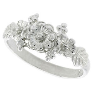 Sterling-Silver-High-Polished-Three-Flower-Ladies-Ring
