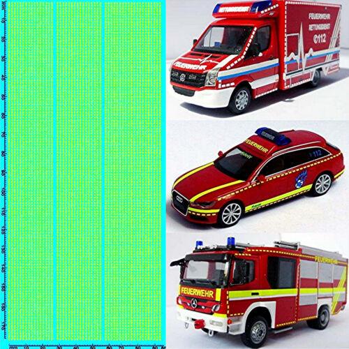 Rettungsdienste Feuerwehr DE 08 Emergency services gelb yellow 1:87 Decal