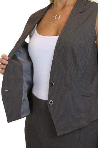 ICE Satin Feel Lined Waistcoat Skirt Suit Fashion Grey 10-20 6501-3
