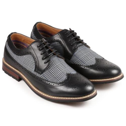 Mens Vintage Shoes, Boots | Retro Shoes & Boots   Black Tweed Mens Wing Tip Lace Up Oxford Dress Shoes $17.99 AT vintagedancer.com