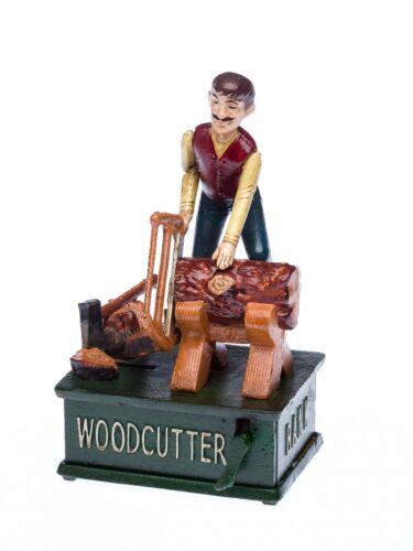 Nostalgie Spardose Holzfäller Baumfäller Schreiner Baum Säge Eisen Woodcutter