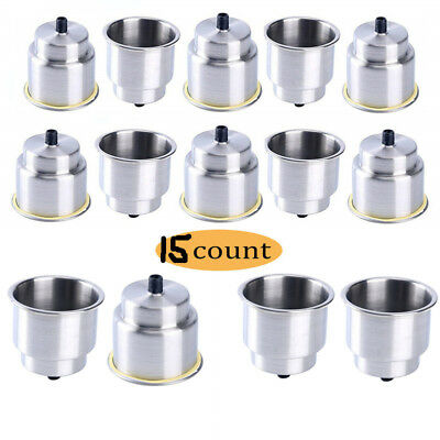 10 Pack Stainless Steel Cup Drink Holder with Drain Marine Boat Rv Camper Tables