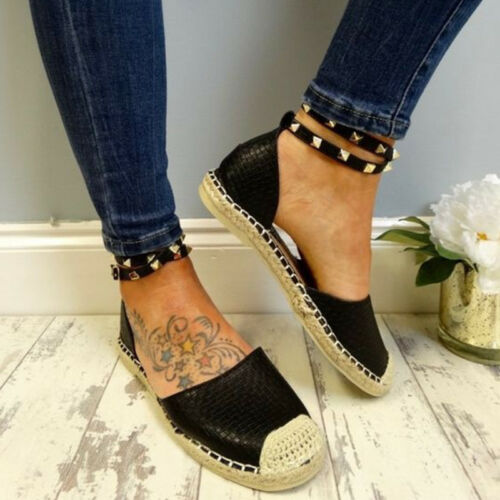 Womens Ankle Strap Buckle Rivet Espadrille Sandals Flat Heels Party Casual Shoes