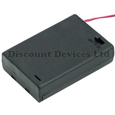 AA x 3 Battery Holder Black In Enclosed Box With Switch