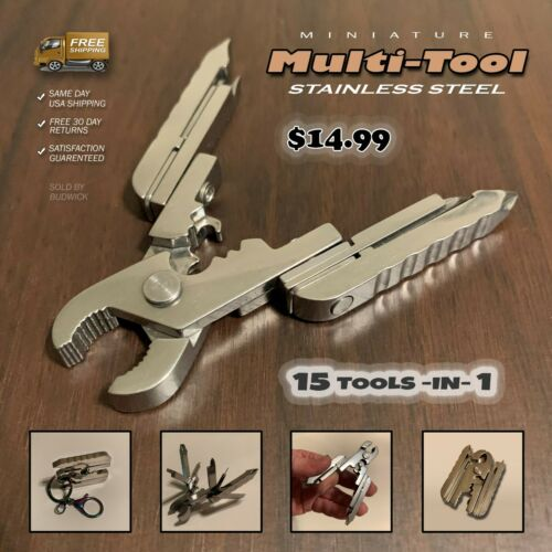 Miniature Mini Multi-Tool Pliers 15-in-1 Function Stainless Steel Pocket Size